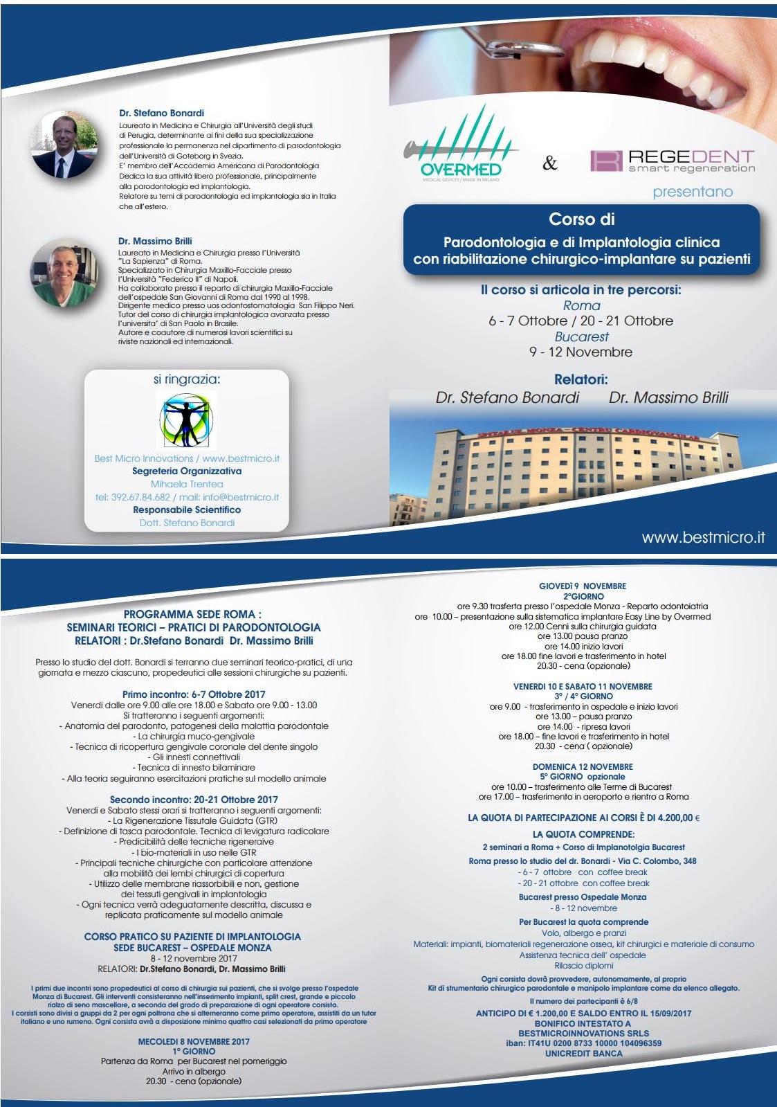 Corso di Parodontologia e Implantologia Clinica con Riabilitazione Chirurgico Implantare su Pazienti